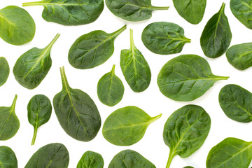Spinach pattern background on white. Top view