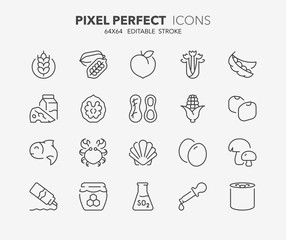 food allergens thin line icons