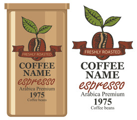 A tin can with label for coffee beans. Vector label for coffee with coffee bean and inscription and tin can with this label.