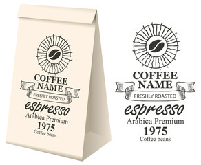 Paper packaging with label for coffee beans. Vector label for coffee with coffee bean, pencil drawing and inscription and 3d paper package with this label.