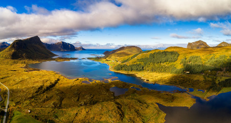 Wall Mural - Aerial view of a scenic coast on Lofoten islands in Norway