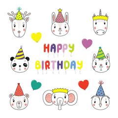 Set of hand drawn portraits of cute animals in party hats, with balloons in the shape of letters spelling Happy Birthday. Isolated objects on white background. Vector illustration. Design concept kids