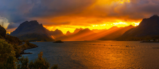 Wall Mural - Sunset over the mountains of Lofoten islands
