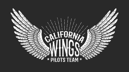 Pilot club retro logo - wings with inscriptions on black background. Worn texture on separate layers and can be disabled.