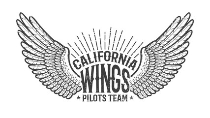 Retro emblem of the club of pilots with outstretched wings. Monochrome on a white background. Worn texture on separate layer and can be easily disabled.