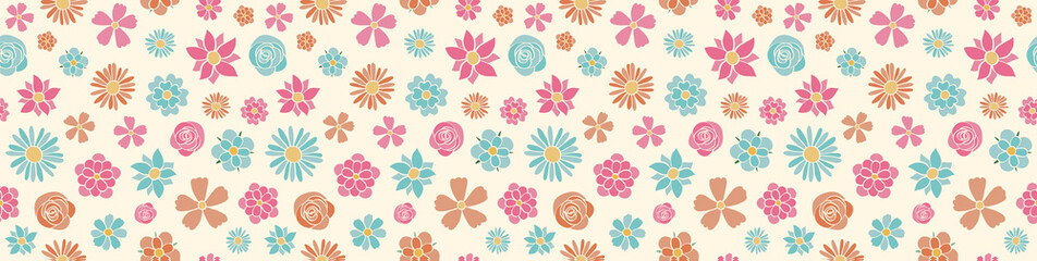 Cute spring background with hand drawn flowers - wrapping paper. Vector.