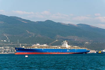 Cargo ship anchored in the roadstead Tsemes bay at the entrance of the port of Novorossiysk