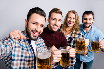 Success photographing football soccer holiday unity festive mood concept close up photo of handsome excited cheerful bearded toothy smiling guys making self picture hugging isolated on gray background