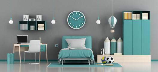 Blue and gray kids room