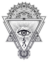 Triangle composition with sacred eye crying tears.