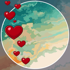 painted sky background in a circle with hearts