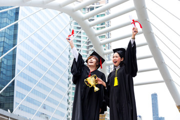 Education, Graduation concept with happy student happy after finish their university