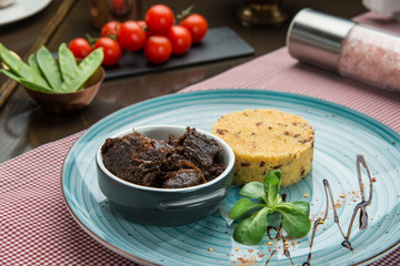 Gourmet food, garnished cuscus and grilled meat