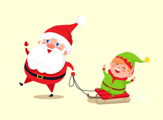 Santa Claus and Elf on Sledge Vector Illustration