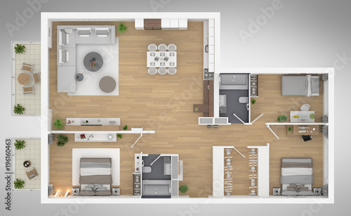 Home Floor Plan Top View 3d Illustration Open Concept