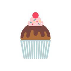 Color illustration of a cupcake, isolated.