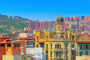 Fotomurales - Panorama of the center of Barcelona, the capital of the Autonomy
