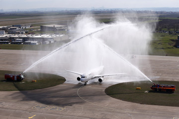 An IranAir Airbus A320 is greeted with a water cannon salute on arrival at Belgrade's Nikola Tesla Airport