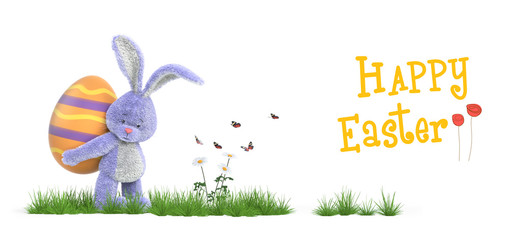 A funny rabbit and Easter eggs in spring tim