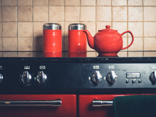Teapot on the stove in kitchen