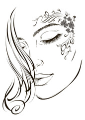 Graphic image of a young fashion girl with a floral tattoo on her face for design. Vector illustration