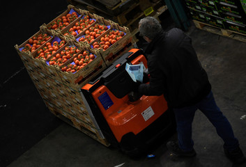 A worker moves some tomatoes at the wholesale fruits and vegetables market in Hamburg