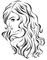 Graphic image of a young pretty girl with long wavy hair. Vector illustration