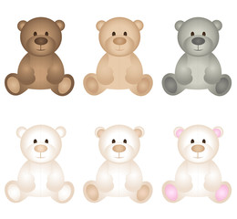 Teddy bear icon set vector