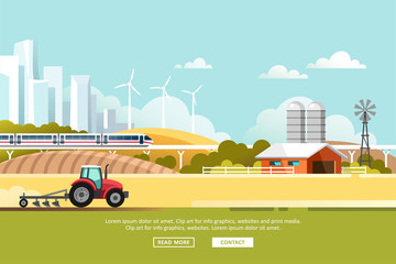 Agriculture and Farming. Agribusiness. Rural landscape with silhouette megapolis and train rail. Design elements for info graphic, websites and print media. Vector illustration. Fototapete