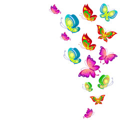 Wall Murals Birds, bees beautiful pink butterflies, isolated on a white