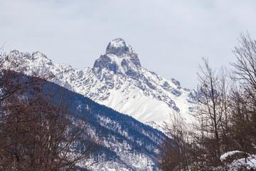 Peak of mount Ushba in Caucasus Mountains, Svanetia region in Georgia