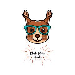 Illustrated Portrait of Squirrel in glasses. Squirrel geek.