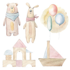 Watercolor childhood clipart. Wooden toys.