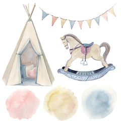 Watercolor childhood clipart.