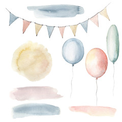 Watercolor childhood clipart. Watercolor balloons and flags.