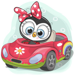 Cute Penguin Girl goes on the car