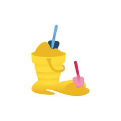 Vector cartoon shovel in sandbox bucket scoop in sand. baby toys. Traveling summer vacation, Plastic elements infant children. Kids education development object Isolated illustration white background