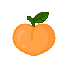 Peach icon. Peach fruit on branch with leaf. Isolated vector
