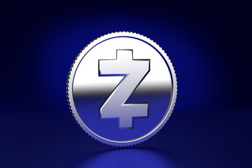3D Render of a ZCash crypto currency coin substitute against dark blue background