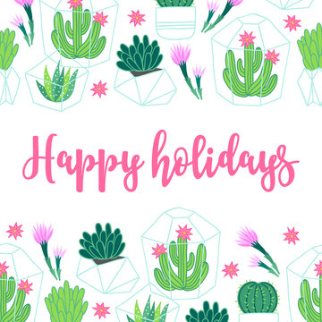Greeting card with seamless border - succulents in terrarium