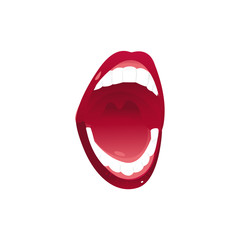 Female mouth with shiny teeth and red lipstick wide open singing pop art style icon, vector illustration on white background. Signing female mouth with white teeth and red lips