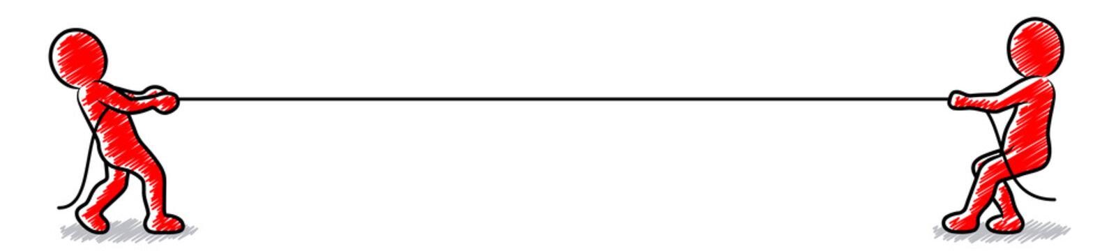 Konkurrenz: Zwei rote Männchen beim Tauziehen / Schraffierte Vektor-Zeichnung