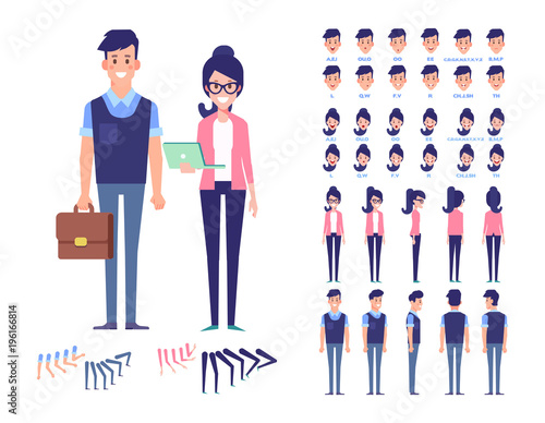 Flat Vector character set for animation  Business people