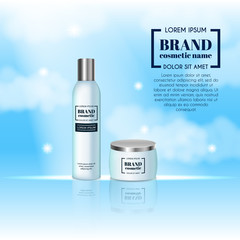 3D realistic cosmetic bottle ads template. Cosmetic brand advertising concept design on sky background with clouds