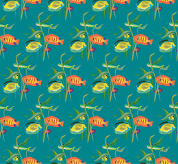 Seamless repeating pattern from a variety of fish and algae