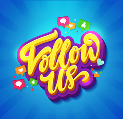 Follow Us Memphis Colorful card. Card set for social media networks and follower on blue background. Hand lettering with doodles of hearts, comments and new followers. Vector illustration