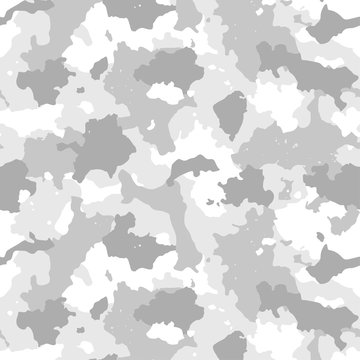 Camouflage seamless pattern. Winter camo, repeat print. Vector illustration.
