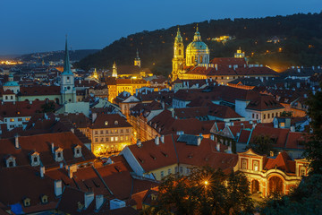 .Night view of the historical center of Prague from the observation deck of the Prague Castle. Czech Republic.