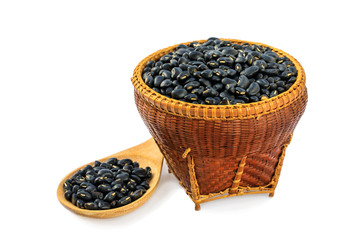 Black bean in the bamboo basket  isolated on white background with clipping path.