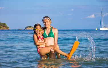 Two girls in the sea with flippers